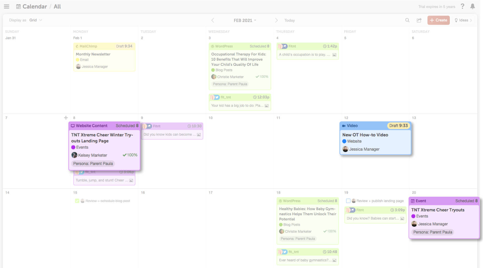 multiple projects on the calendar