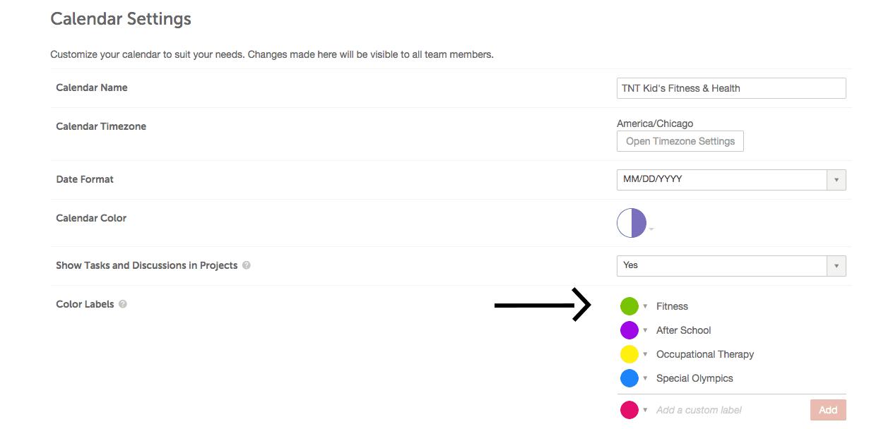 Color labels menu