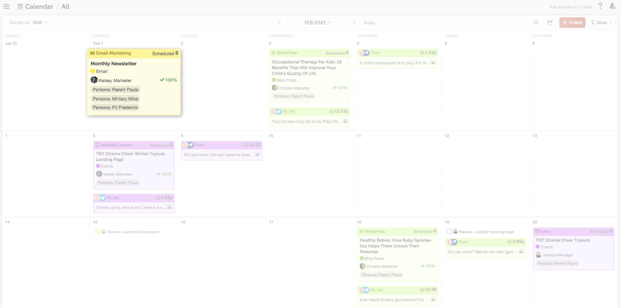 schedule projects the day they'll publish