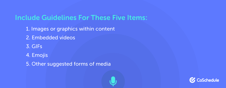 Include Guidelines For These Five Items