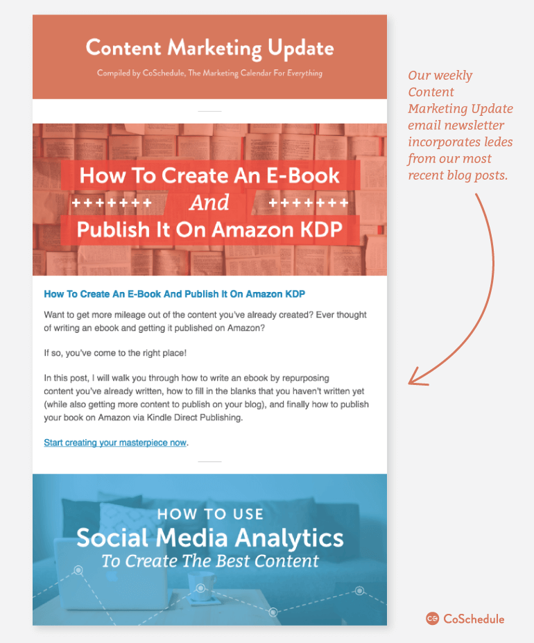 Example of ledes used in email newsletter