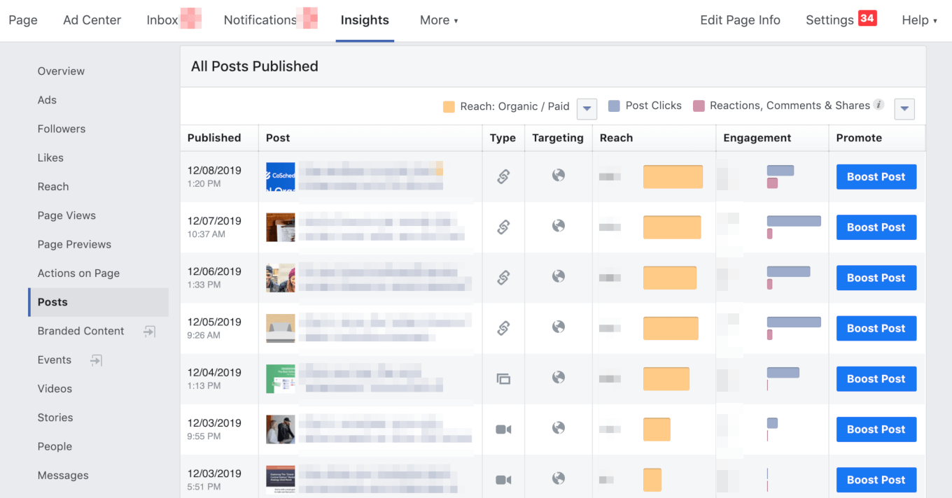 Where to find post insights