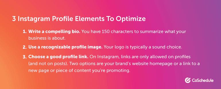 3 Instagram Profile Elements to Optimize
