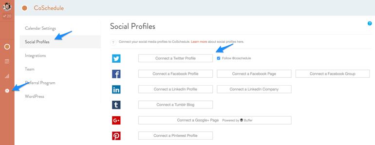 integrate your social media accounts list into CoSchedule