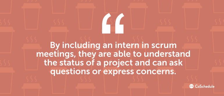 By including an intern in scrum meetings, they are able to understand the project ...