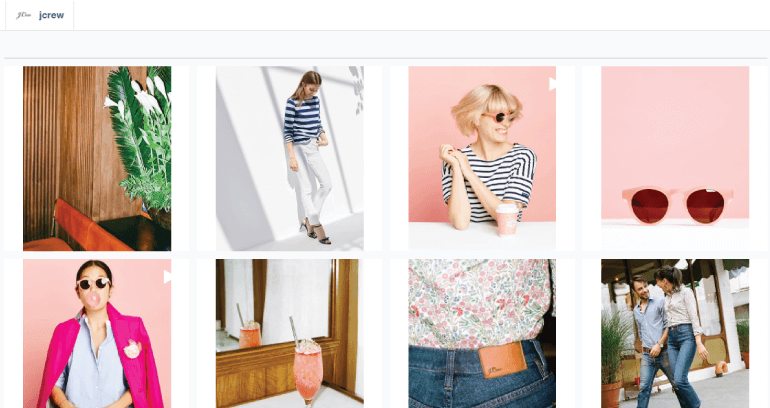 Screenshot of recently shared products on J Crew