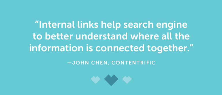 Internal links help search engines to better understand where all the information is connected together.