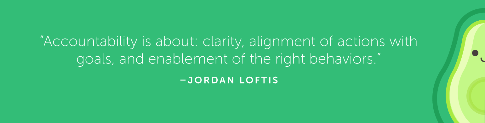 Accountability is about clarity, alignment of actions with goals, and enablement of the right behaviors.