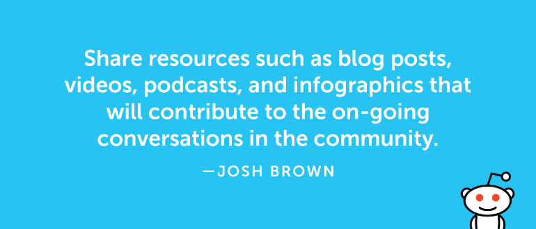 Share resources such as blog posts, videos, podcasts, and infographics ...