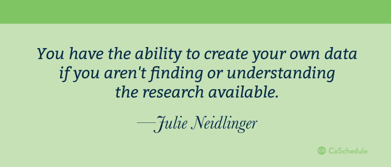 Quote from Julie Neidlinger about original research