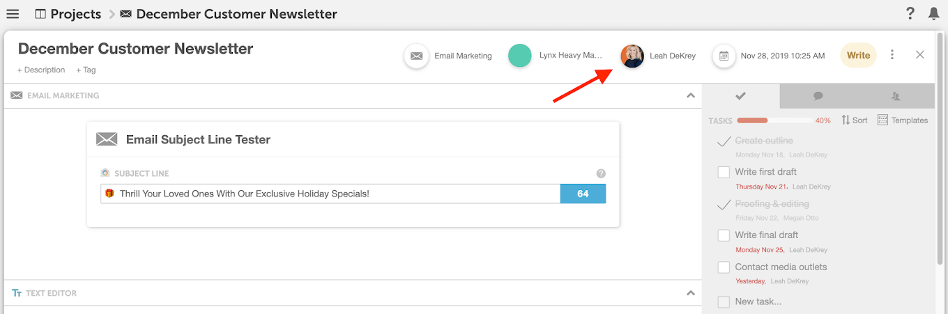 Kanban ownership example in CoSchedule