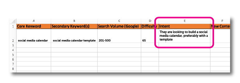Record your keyword search intent