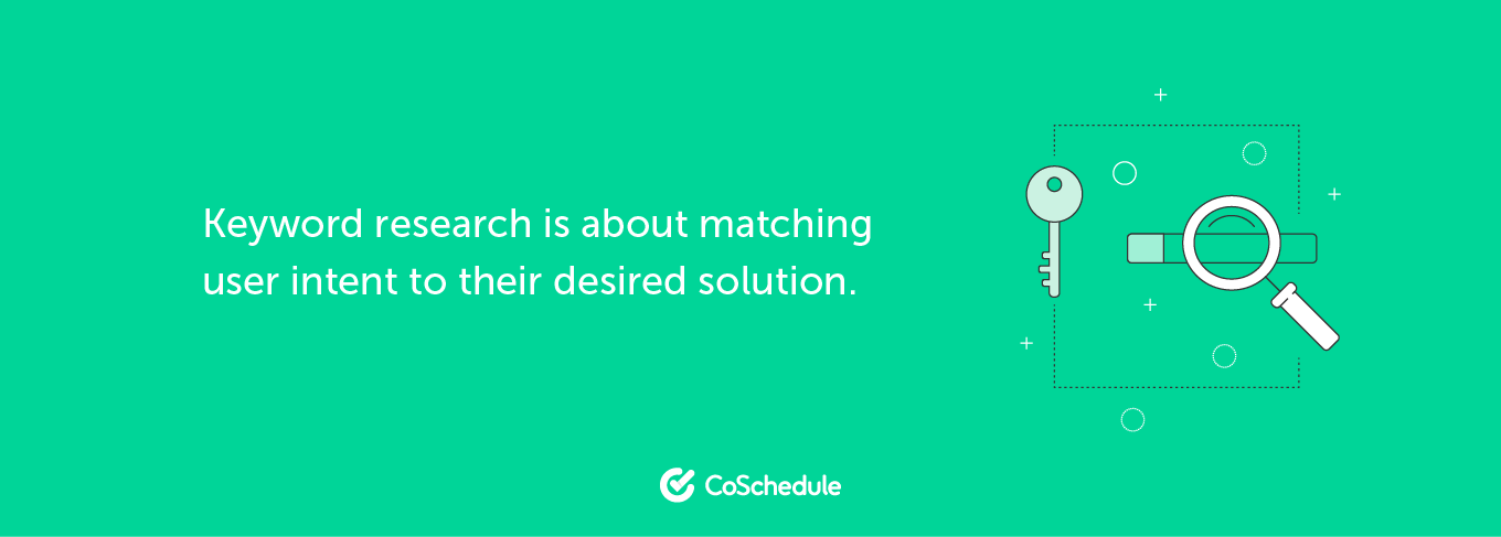 Keyword research is about matching user intent to their desired location.