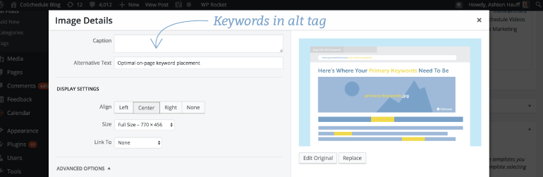 Place keywords in image alt tags