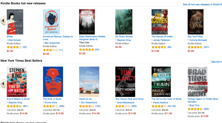 Kindle ebook store screenshot
