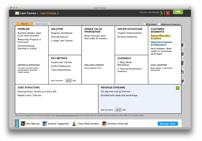 Screenshot from Lean Canvas