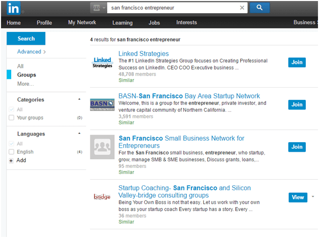Example of a search on LinkedIn
