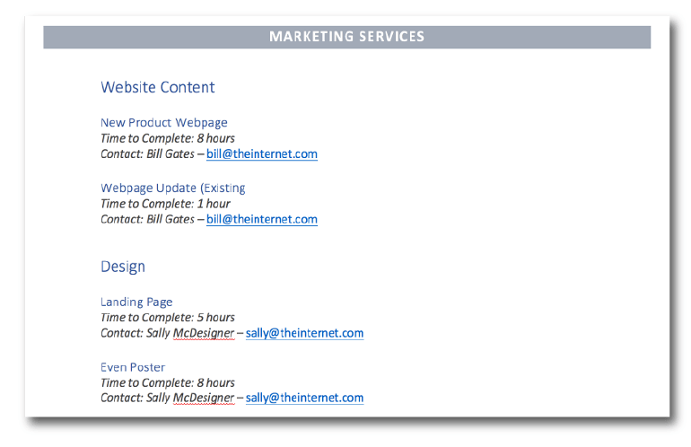 List of marketing services in the catalog template.