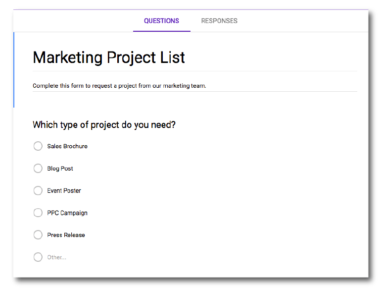 List your project types.