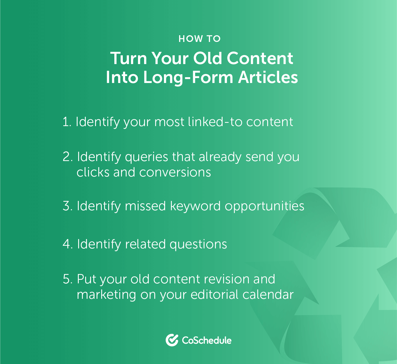 Steps to create long-form articles from old content graphic