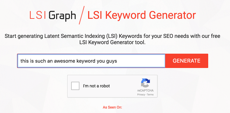 Screenshot of the LSI Keyword Generator