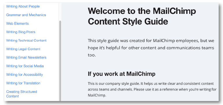 Screenshot from MailChimp's content creator's style guide