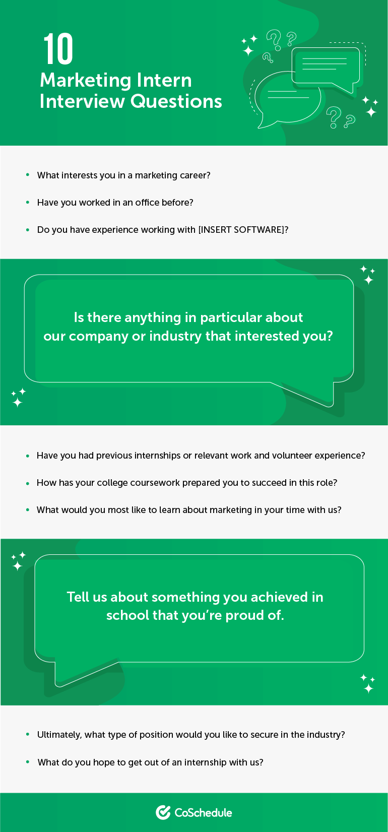 10 Marketing Intern Interview Questions