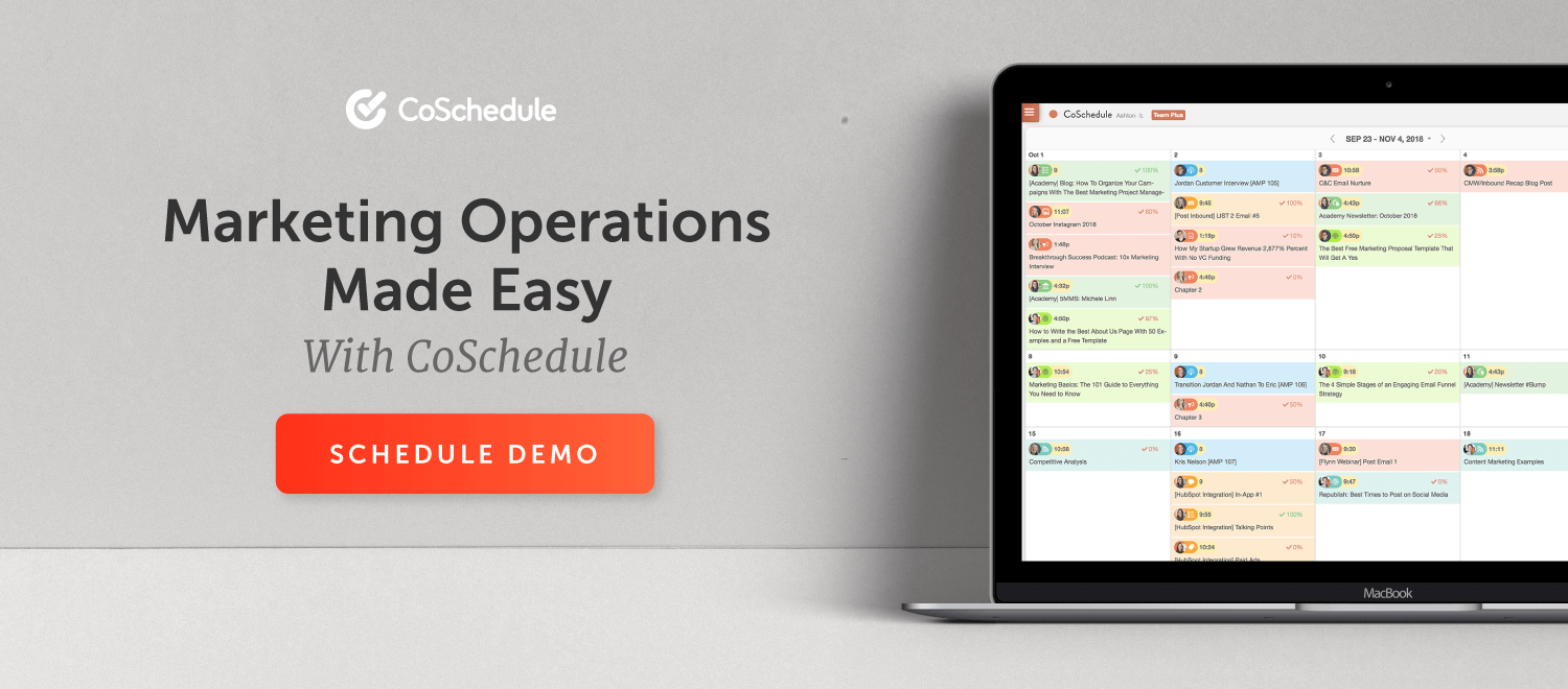 Marketing Operations made easy with CoSchedule