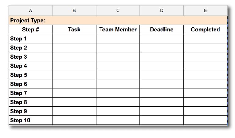 Screenshot of a marketing project checklist.