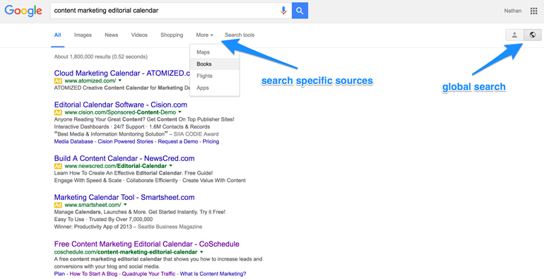 use Google's search tools for research