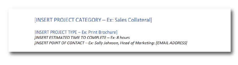 Marketing services catalog - category section.
