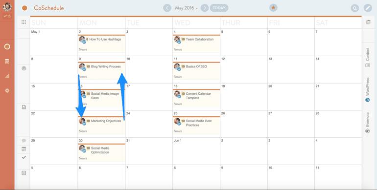 marketing team collaboration on a drag and drop calendar