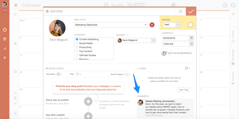 marketing team collaboration with comments in CoSchedule