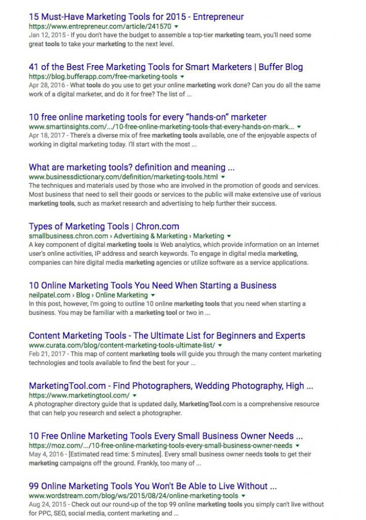 Marketing tool SERP