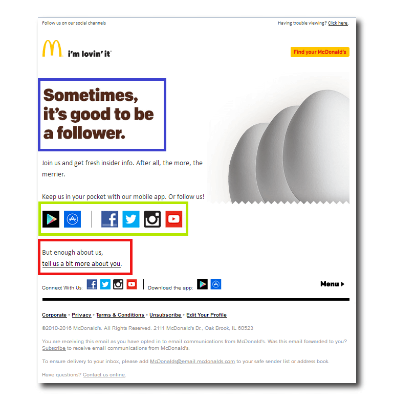 Example of a welcome email from McDonalds