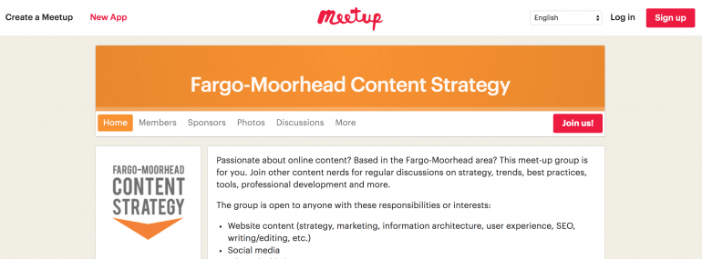 Example of a Meetup page