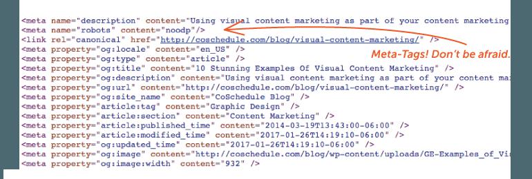 Example of meta tags