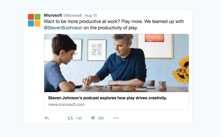 Example of a professional post from Microsoft