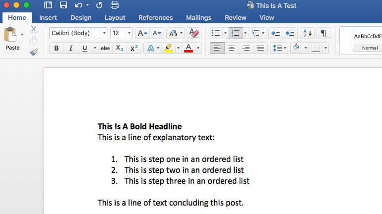Sample Microsoft Word document