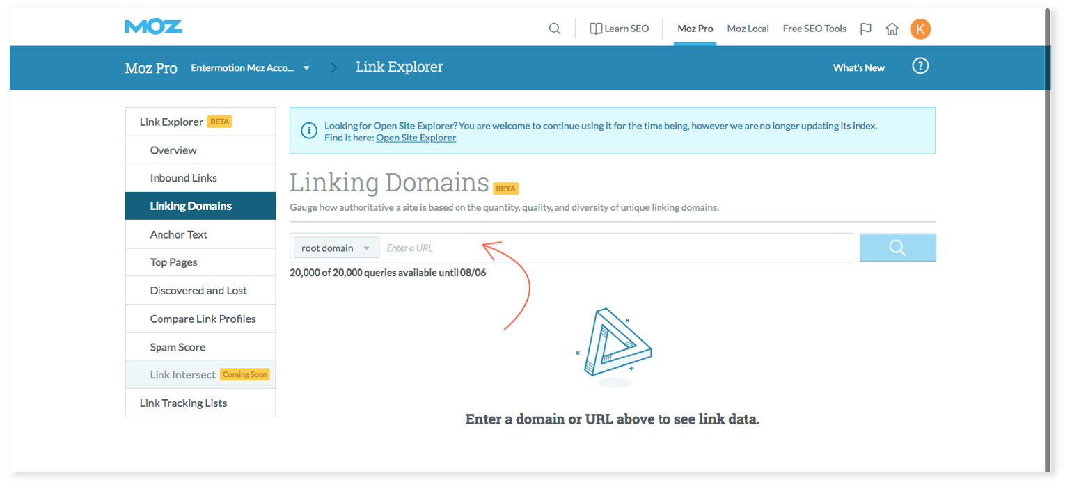 Where to enter URL in Moz