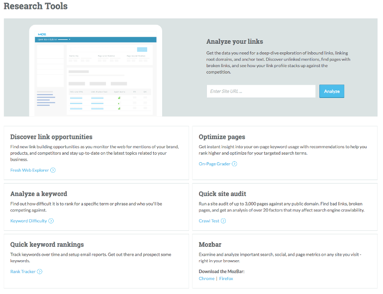 Moz Pro home page screenshot