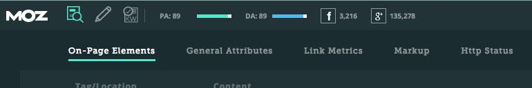 Moz Toolbar Chrome Extension Screenshot