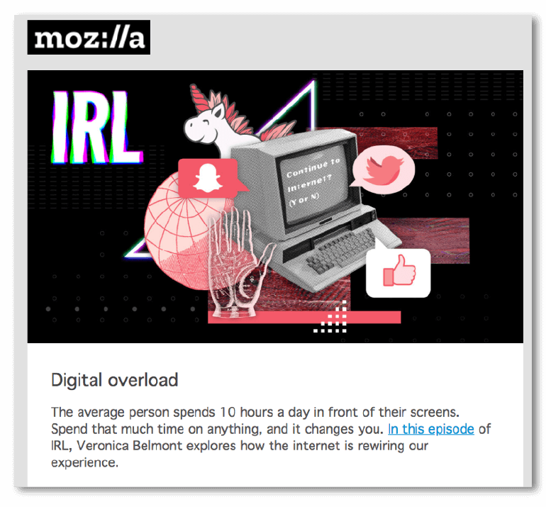 Email sample from Mozilla