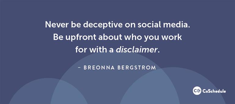Never Be Deceptive On Social Media