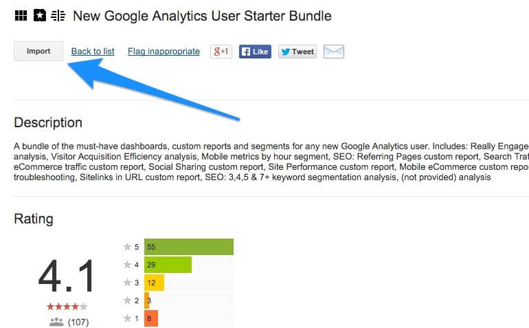 Google Analytics Solutions Gallery screenshot