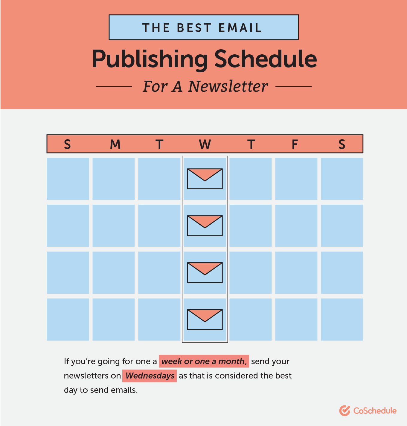 Publishing schedule for email newsletter