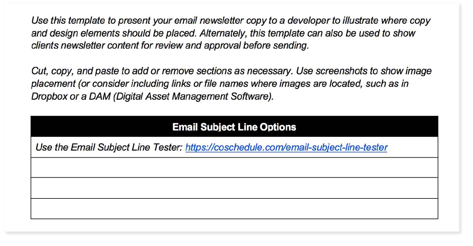 Example from the newsletter template