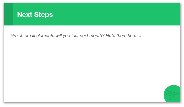 Email Analytics Report Slide: Next Steps