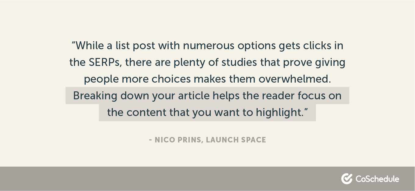 Quote about TOFU content from Nico Prins