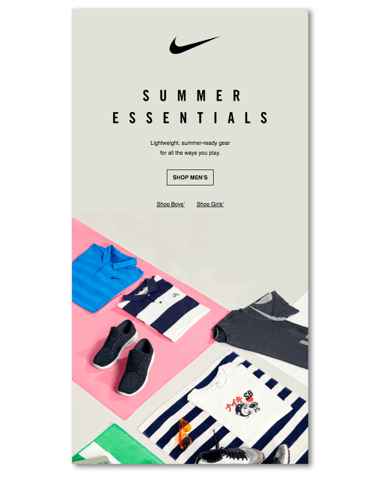 Email marketing sample from Nike